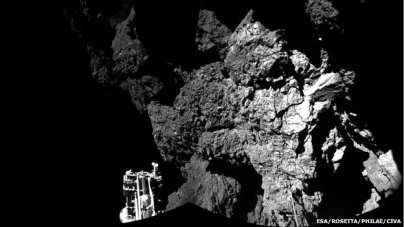 The craggy surface of the comet 67P, looking over one of Philae's feet